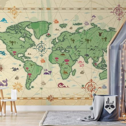 Nursery Paper photo wallpaper Kids map
